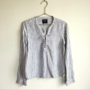 Abercrombie & Finch Striped Lace up Blouse